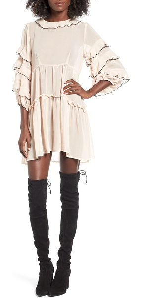 For Love & Lemons souffle ruffle dress in champagne - Go ahead, try your best twirl in this ruffled and...
