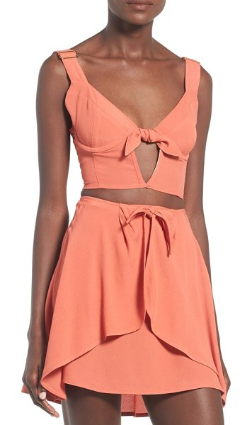 For Love & Lemons sweet jane bustier crop top in terra cotta - A structured bustier crop top made with a midriff-baring...