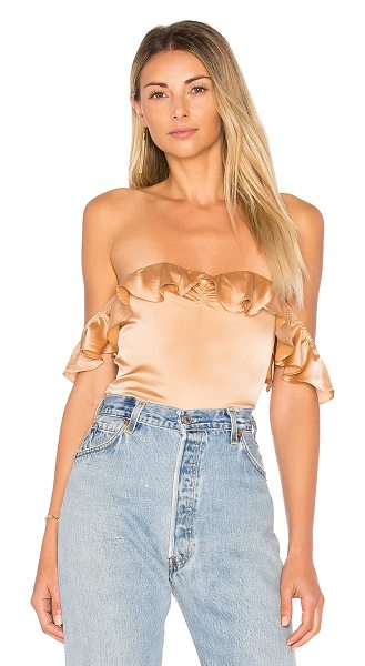 For Love & Lemons Virgo Ruffle Bodysuit in beige - Add a sweet taste to your wardrobe palate with the Virgo...