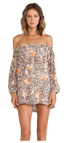 For Love & Lemons Wilson mini dress in taupe - Poly blend. Fully lined. Elastic neckline. FORL-WD214....