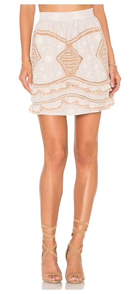 For Love & Lemons Winona Mini Skirt in beige - Self: 70% cotton 30% silkContrast: 100% nylon. Dry clean...