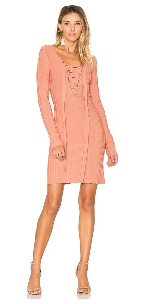 For Love & Lemons x KNITZ Simone Lace Front Sweater Dress in pink - Poly blend. Hand wash cold. Unlined. Lace-up front with...