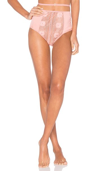 For Love & Lemons x REVOLVE High Waist Panty in pink - Self: 64% poly 36% nylonContrast: 100% poly. Hand wash...