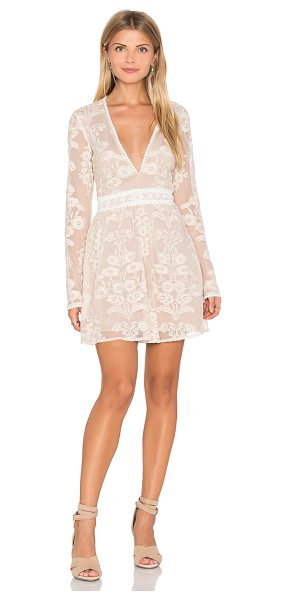For Love & Lemons x REVOLVE Violetta Dress in beige - Nylon blend. Hand wash cold. Fully lined. Embroidered...