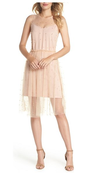 FOREST LILY imitation pearl & tulle dress in blush - A cloud of imitation pearl-dotted tulle floats over the...