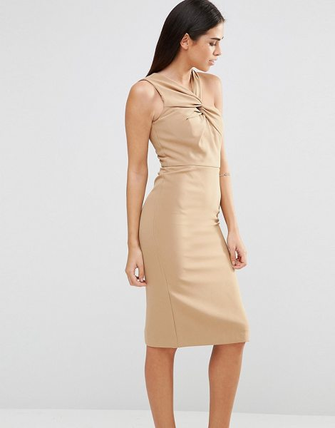 Forever Unique Aisha Midi Dress With Twisted Strap Detail in beige - Midi dress by Forever Unique, Lightly textured woven...