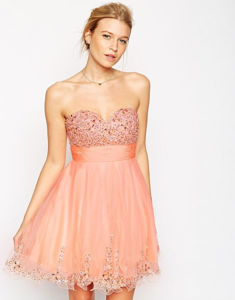 Forever Unique Amelia embellished bandeau dress in peach - Evening dress by Forever Unique Woven fabric Bandeau...