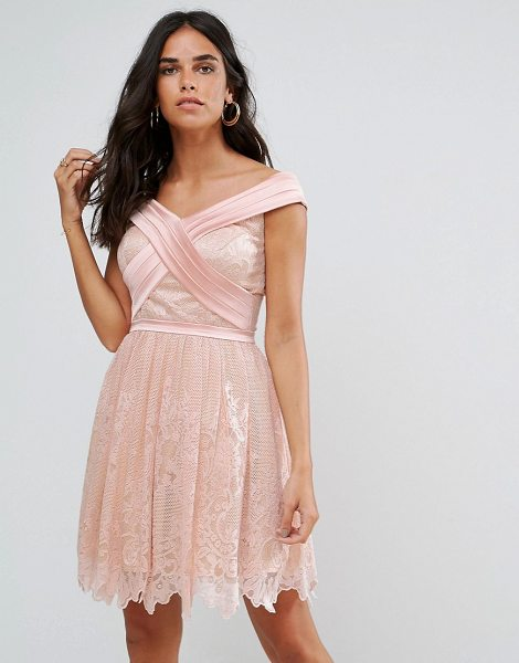 "Forever Unique Bardot Cross Over Mini Lace Skater Dress in pink - """"Lace dress by Forever Unique, Lightweight lace, Fully..."
