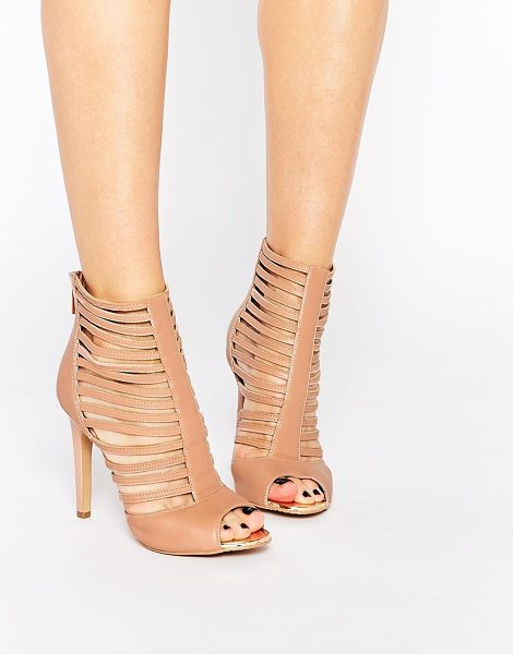 Forever Unique Boundary Caged Leather Heeled Sandals in tan - Shoes by Forever Unique, Real leather upper, Caged strap...
