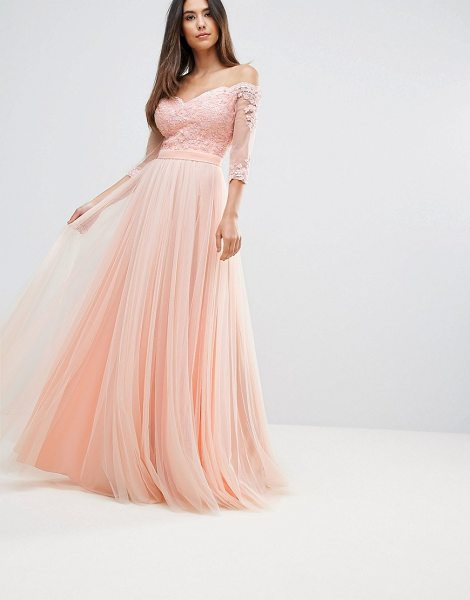 """Forever Unique Bridesmaid Bardot 3/4 Sleeve Maxi Dress in pink - """"""""Evening dress by Forever Unique, Midweight woven..."""