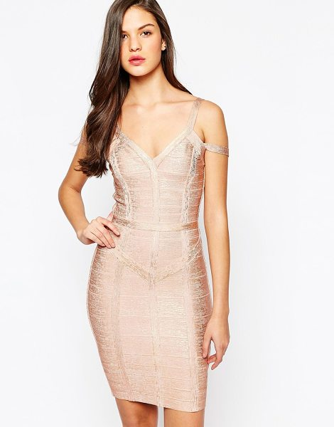 Forever Unique Bryony metallic bandage dress in rose gold - Midi dress by Forever Unique Textured fabric Metallic...