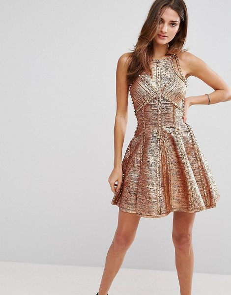 "Forever Unique Embelished Mini Dress in gold - """"Dress by Forever Unique, Textured woven fabric, Stud..."
