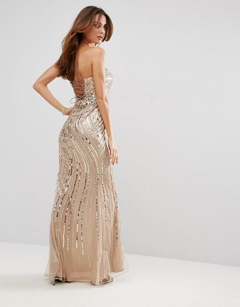 """Forever Unique Embelished Sweetheart Maxi Dress in beige - """"""""Maxi dress by Forever Unique, Embellished woven..."""