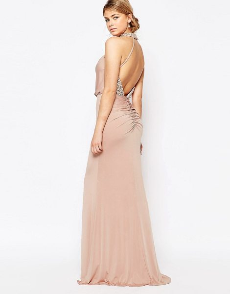 FOREVER UNIQUE Embellished High Neck Dress with Open Back in pink - Maxi dress by Forever Unique, Silky feel stretch woven...