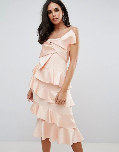 """FOREVER UNIQUE Frill And Bow Detail Midi Dress - """"""""Dress by Forever Unique, Smooth woven fabric, Sheer..."""