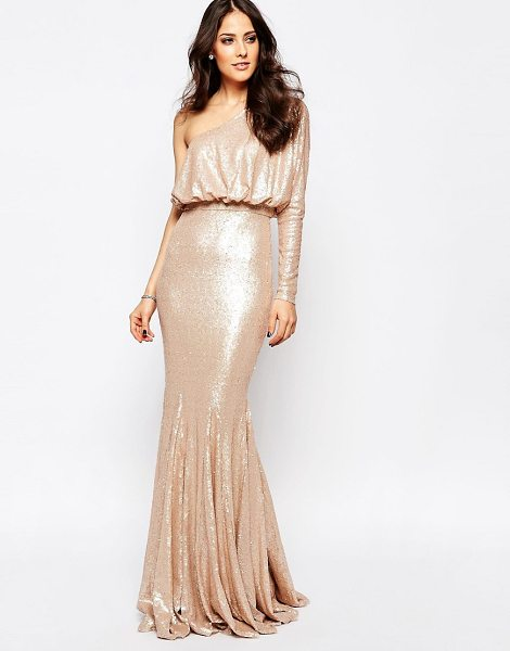 Forever Unique Tempest Sequin One Shoulder Maxi Dress in beige - Maxi dress by Forever Unique, Sequinned fabric,...