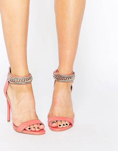 Forever Unique Totem Embellished Barely There Leather Heeled Sandals in pink - Shoes by Forever Unique, Real leather upper,...