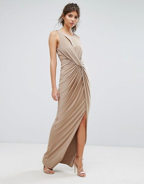 "Forever Unique Wrap Thigh High Split Maxi Dress in brown - """"Maxi dress by Forever Unique, Slinky stretch fabric,..."