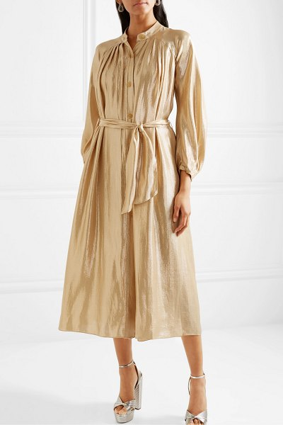 Forte Forte belted gathered silk-blend lurex midi dress in gold