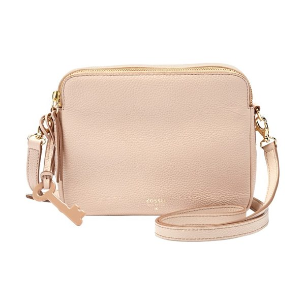 FOSSIL Sydney leather crossbody bag in barely pink - Richly grained leather composes a classic crossbody bag...