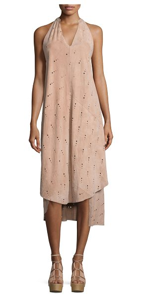 Foundrae Eyelet Leather Apron Dress in pink sand - Foundrae apron dress in lamb leather with squared eyelet...