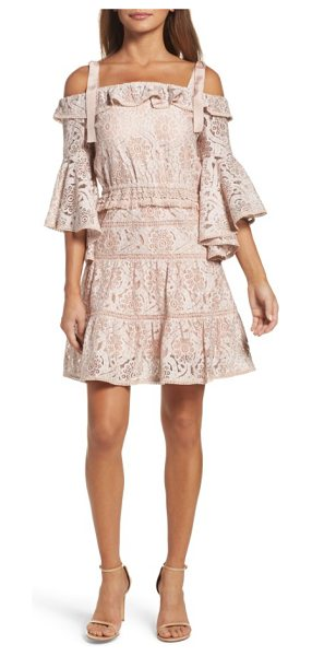 Foxiedox berry flared sleeve cold shoulder dress in ballet - This boho-chic lace minidress embodies retro romance...