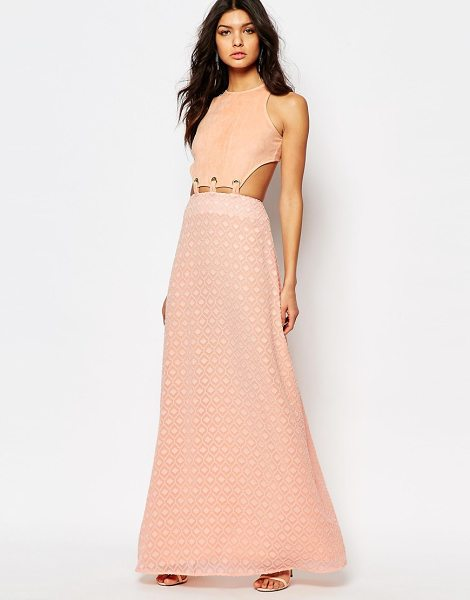 Foxiedox Lucilla Maxi Dress With Lace Up Cutout Detail in pink - Maxi dress by Foxiedox, Lined woven fabric, Round...