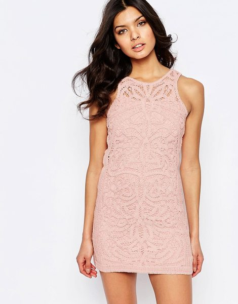 Foxiedox monticello lace mini dress in pink - Dress by Foxiedox, Lined lace, Round neckline, Split...