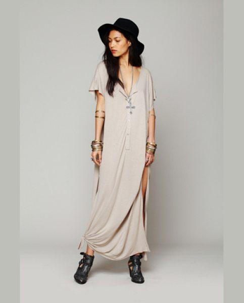 FP BEACH Marrakesh dress - Semi-sheer maxi dress with button placket front and...