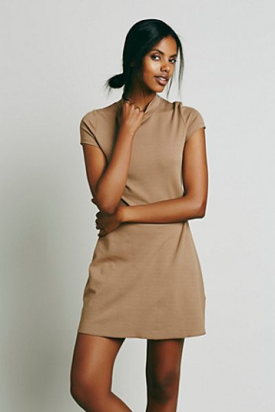 FP BEACH Solid mock neck mini dress in camel - We designed another version  of FP fave On the Line...