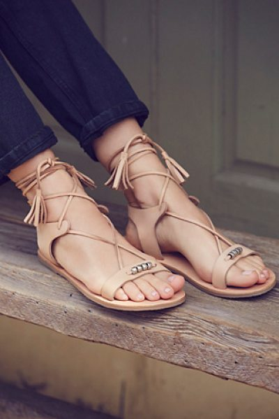 FP Collection Bryn marr wrap sandal in natural - These easy boho sandals are featured in a soft leather...
