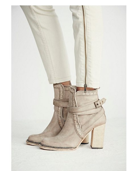 FP Collection Heirloom heel boot in grey / taupe - Rounded toe leather ankle boot featuring leather trim...