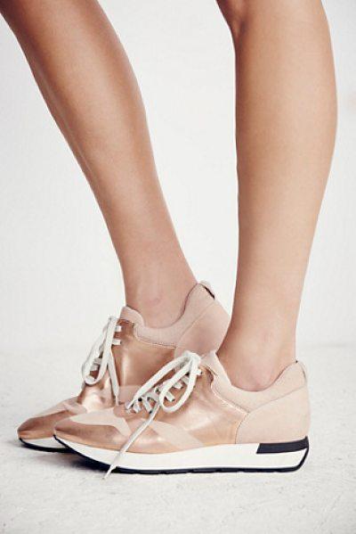 FP Collection Kick it lace up sneaker in rose gold - In a retro silhouette these metallic leather sneakers...