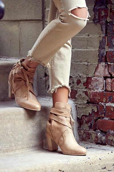 FP Collection Seven wonders heel boot in nude - Washed leather rounded toe ankle boot featuring a wrap...