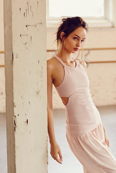 FP Movement Amanda tank in pink crystal - Fitted ribbed activewear tank with breathable Power Mesh...