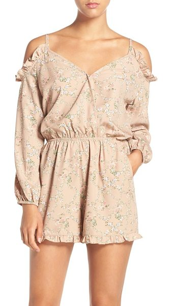 Fraiche by J abigail cold shoulder print romper in abgail taupe - Flirty ruffles frame the cold-shoulder cutouts and...