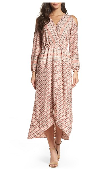 Fraiche by J cold shoulder midi dress in pink