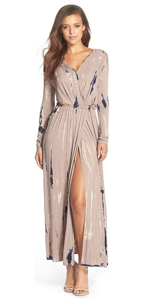 Fraiche by J tie dye faux wrap maxi dress in taupe - A faux-wrap front and a fitted waistline that releases...