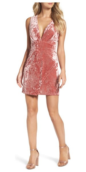 Fraiche by J velvet minidress in ice pink - Get noticed in this velvet plunging minidress made...