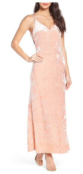Fraiche by J velvet slipdress in pink - A peach slipdress made of luscious crushed velvet with...