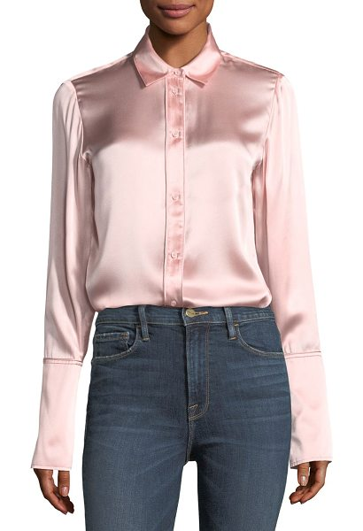 Frame Button-Front Silk Satin Blouse in pink - FRAME silk satin blouse. Spread collar; button front....