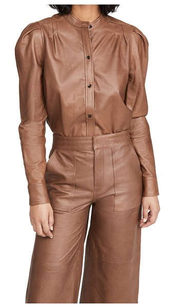 Frame charlie leather top in tawny