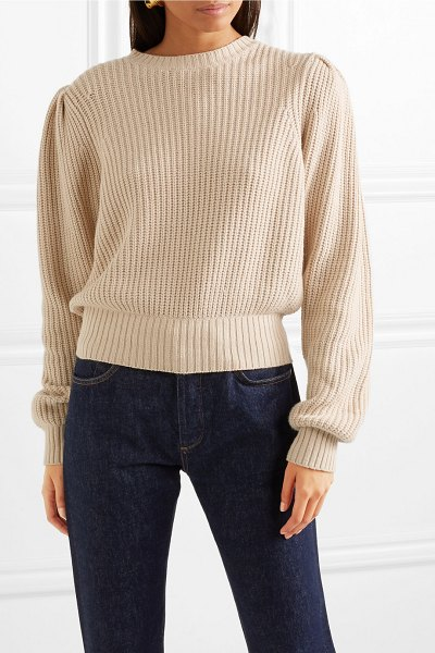 Frame cotton-blend sweater in beige - FRAME's sweater is designed with gathered shoulders and...