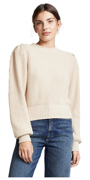 Frame cropped crew pullover in oatmeal - Fabric: Chunky knit Waist-length style Crew neck Long...