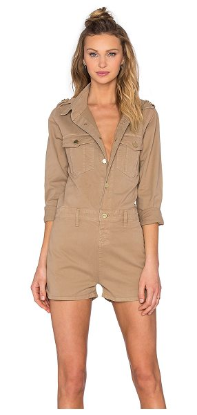 FRAME DENIM Citadel Romper in beige - Cotton blend. Partial front button placket. Front flap...