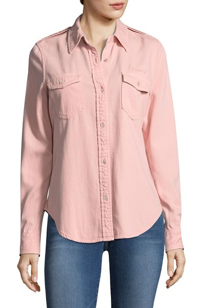 Frame denim faded military  button-down shirt in faded light pink - Pocketed cotton-blend button-down shirt with italicized...