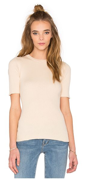 Frame Denim Le crew sweater tee in tan - 100% cotton. Dry clean only. Rib knit fabric. FDEN-WS58....