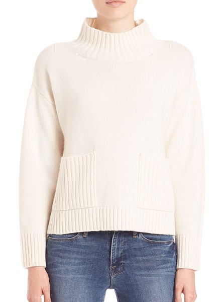 Frame Le cropped mockneck sweater in beige - Cropped mockneck sweater in rich wool blendRibbed...