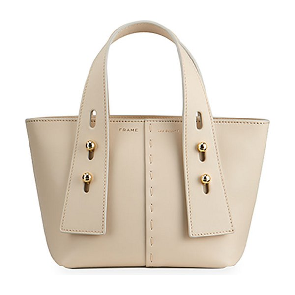 Frame Les Second Mini Leather Tote Bag in beige