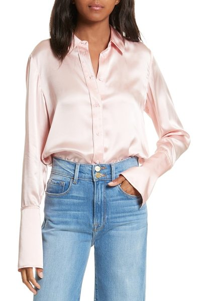 Frame long cuff silk shirt in spanish pink